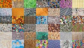 Mosaico das texturas naturais e feitos a mão Foto de Stock Royalty Free