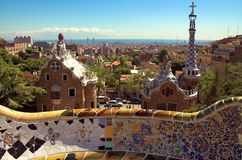 Mosaico de cerámica en guell del parque Imágenes de archivo libres de regalías