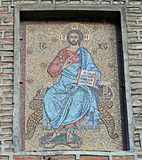 Mosaico de Cristo acima da porta do monastério de Antim, Bucareste, romana Foto de Stock