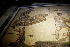 Mosaico de gladiadores en el Galleria Borghese Roma Italia Fotografía de archivo libre de regalías