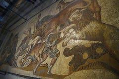 Mosaico de gladiadores en el Galleria Borghese Roma Italia Imágenes de archivo libres de regalías