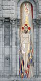 Mosaico de Jesus à esquerda da entrada da basílica de Lourdes Foto de Stock Royalty Free