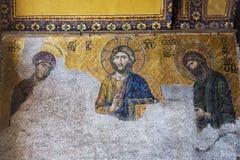 Mosaico de Jesus Christ viejo que se conoce como Pantocrator Con la Virgen María y John Baptist dentro de la mezquita de Hagia So imagen de archivo libre de regalías