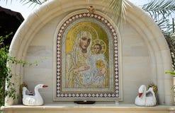 Mosaico de la madre de dios en el monasterio de St Gerasimus fotos de archivo