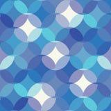Mosaico de los círculos, semi elementos del cirlce Modelo inconsútil del vector monocromático azul geométrico para la tela, papel stock de ilustración