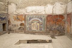 Mosaico de Neptuno y de Amphitrite, casa del mosaico de Neptuno, Herculano foto de archivo libre de regalías