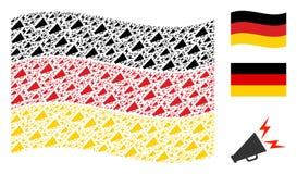 Mosaico de ondulação da bandeira de Alemanha de artigos alertas do megafone ilustração royalty free