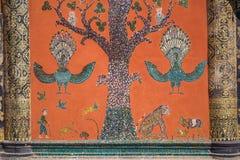 Mosaico de vidro na parede do templo da tanga do xieng do wat, prabang de Luang Fotografia de Stock
