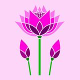Mosaico decorativo del loto rosa luminoso fotografia stock