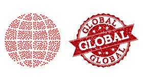 Mosaico del corazón del amor del icono del globo y de la filigrana de goma stock de ilustración
