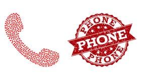 Mosaico del corazón del amor del icono del teléfono y del sello de goma stock de ilustración