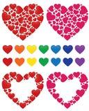 Mosaico del corazón, marco y conjunto del arco iris Imagen de archivo