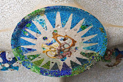 Mosaico del guell de Parc en el techo 2 Imagenes de archivo