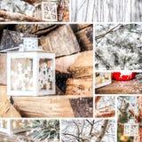 Mosaico del invierno y de la Navidad Imágenes de archivo libres de regalías