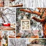 Mosaico del invierno y de la Navidad Imagenes de archivo