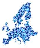 Mosaico del mapa de la unión europea de pixeles ilustración del vector