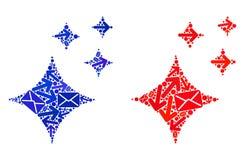 Mosaico del movimiento del correo brillar iconos de las estrellas libre illustration