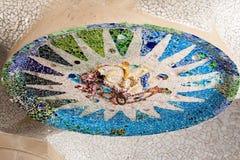 Mosaico del soffitto di Parc Guell, stanza ipostila Fotografie Stock