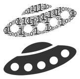 Mosaico del UFO delle cifre binarie illustrazione vettoriale