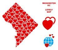 Mosaico della mappa del Washington DC di amore di vettore dei cuori royalty illustrazione gratis