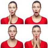 Mosaico della ragazza sorpresa o colpita con le lentiggini e la maglietta rossa con quattro emozioni stupite differenti Immagine Stock Libera da Diritti