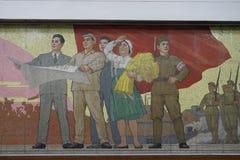 Mosaico della stazione di Kaeson, metropolitana di Pyongyang Immagini Stock