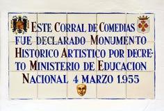 Mosaico delle mattonelle nel vecchio teatro di Almagro, Spagna Fotografie Stock Libere da Diritti
