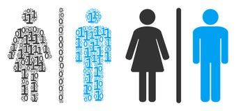 Mosaico delle persone della toilette delle cifre binarie royalty illustrazione gratis