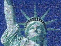 Mosaico di Digital di piccole immagini che comprendono statua della libertà Fotografie Stock