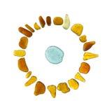Mosaico di vetro del mare - carattere del sole di vecchio stile Fotografia Stock Libera da Diritti