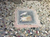 Mosaico do assoalho dentro em Pompeii, Itália Imagem de Stock