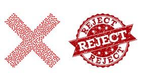 Mosaico do coração do amor do ícone da rejeição e do selo transversais do Grunge ilustração stock