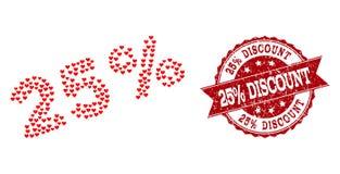 Mosaico do coração do amor de 25 por cento de ícone e selo do Grunge ilustração do vetor