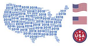Mosaico do mapa dos EUA do texto de 2018 anos Ilustração do Vetor