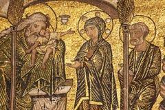 Mosaico dorato in battistero Fotografie Stock