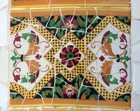 Mosaico en el parque Güell, Barcelona Imagen de archivo