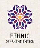 Mosaico geometrico della mandala Modelli di logo per la stazione termale ed il centro di yoga Medaglione antistress indiano Rilas royalty illustrazione gratis