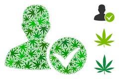 Mosaico GIUSTO paziente di marijuana illustrazione di stock