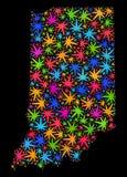 Mosaico Indiana State Map de las hojas coloridas de la marijuana libre illustration
