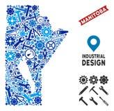 Mosaico industrial del mapa de la provincia de Manitoba libre illustration