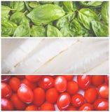 Mosaico italiano de la comida Fotos de archivo libres de regalías