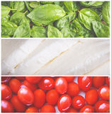 Mosaico italiano do alimento Fotos de Stock Royalty Free