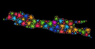 Mosaico Java Island Map de las hojas coloridas del cáñamo stock de ilustración