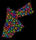 Mosaico Jordan Map de las hojas brillantes del cáñamo ilustración del vector