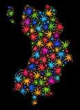Mosaico Ko Tao Map de las hojas coloridas del cáñamo ilustración del vector