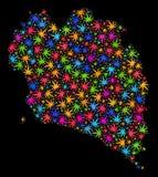 Mosaico Koh Phangan Map de las hojas multicoloras del cáñamo libre illustration