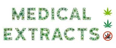 Mosaico médico del texto de los extractos de las hojas de la mala hierba libre illustration