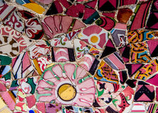 Mosaico na vara do ¼ do parque GÃ, Barcelona de Gaudi, Espanha Foto de Stock Royalty Free
