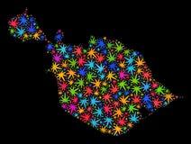 Mosaico oído y mapa de las islas de McDonald de las hojas coloridas del cáñamo stock de ilustración