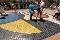 Mosaico pela Espanha de Joan Miro - de Rambla - de Barcelona fotografia de stock royalty free